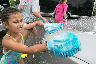 The Lunenburg Bengals cheerleading car wash funraiser, August, 3, 2019