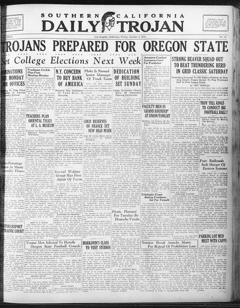 Daily Trojan, Vol. 23, No. 16, October 02, 1931