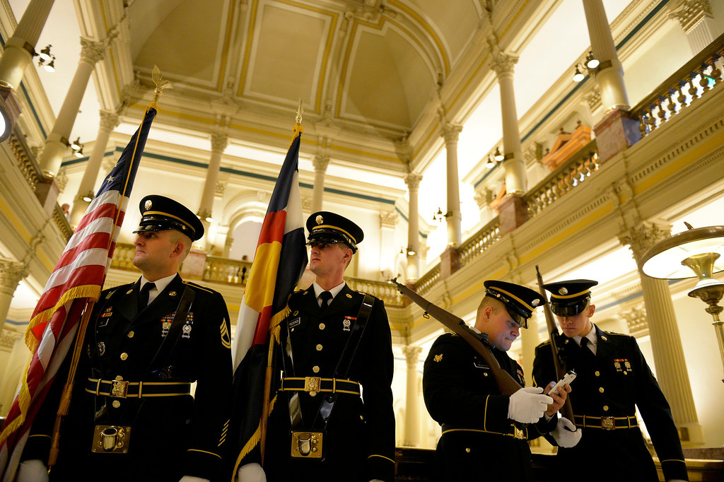 . DENVER, CO. - JANUARY 08: Members of the Colorado Army National Guard wait to present the colors during the first day of the new legislative session at the Colorado Capitol in Denver, CO January 08, 2014. (Photo By Craig F. Walker / The Denver Post)