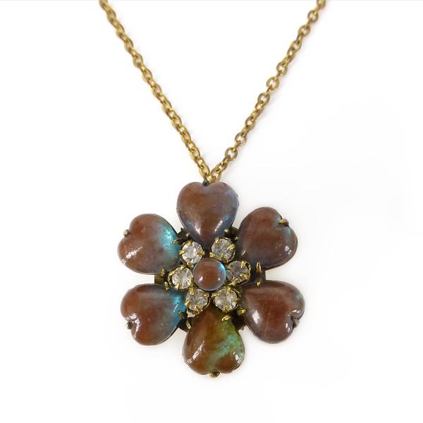 Antique Edwardian Saphiret Glass Heart Floral Panel Pendant Necklace