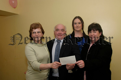 There is a group who have helped children feel important and have valued them for a long time they are Friends of Children, They have given their services to children from Mayobridge before and no dought will againg in the future, They are represented by the organiser Dennis Mulgrew and the committee presented Dennis with a small token of thanks towards the work they do for so many children, l-r, Josephine O'Hare, Dennis Mulgrew, Fiona Lynch and Rita Mc Polin. 05W13N63.
