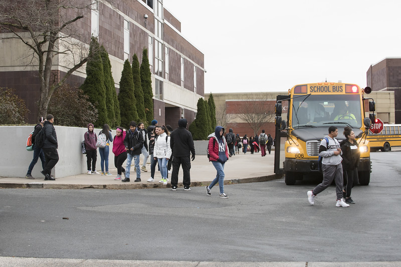 11/19/19  Wesley Bunnell   Staff  Students at New Britain High School leave school grounds at the end of the day on Monday November 18, 2019.