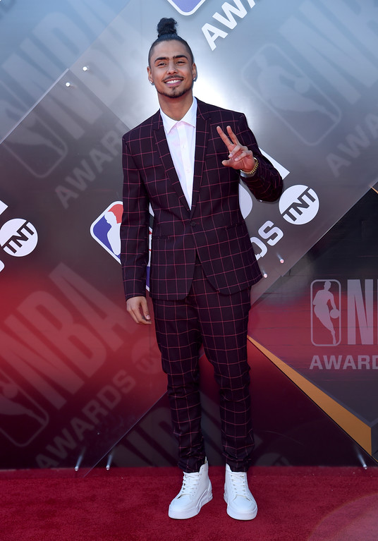 . Quincy Brown arrives at the NBA Awards on Monday, June 25, 2018, at the Barker Hangar in Santa Monica, Calif. (Photo by Richard Shotwell/Invision/AP)