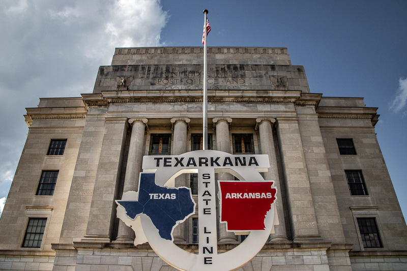 May 17 - Texarkana, Texas and Arkansas, the only U.S. Post Office that sits in two states, built in 1932-33.jpg