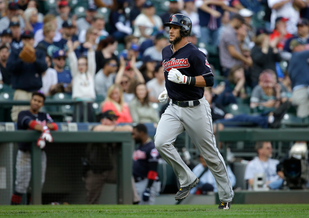 . Cleveland Indians\' Yan Gomes rounds the bases on his solo home run against the Seattle Mariners in the eighth inning of a baseball game Saturday, Sept. 23, 2017, in Seattle. (AP Photo/Elaine Thompson)