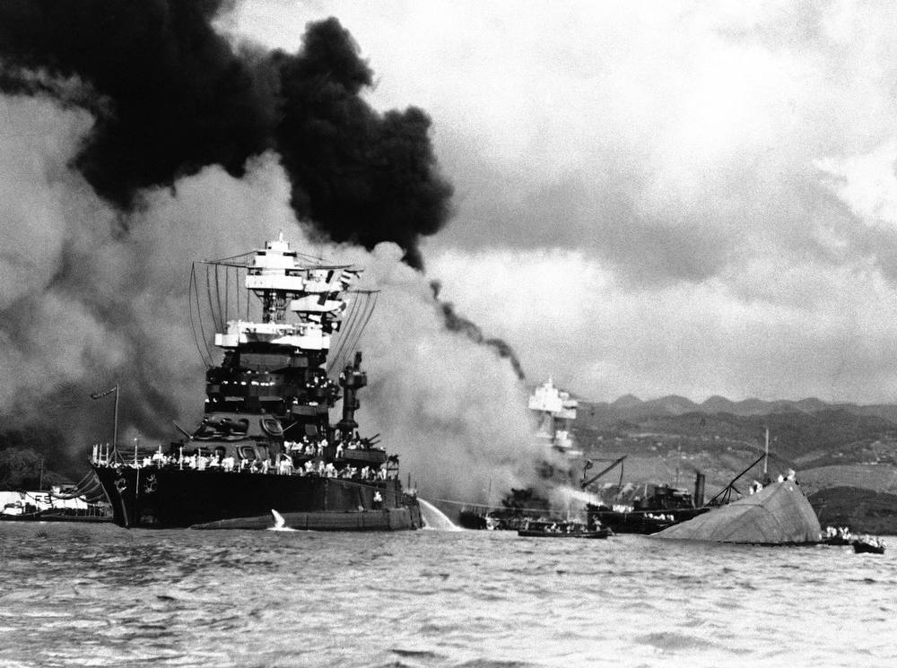 Description of . In this image provided by the U.S. Navy, U.S.S. Nevada beached at Hospital Point at Pearl Harbor, Hawaii in December 1941. (AP Photo/U.S. Navy)