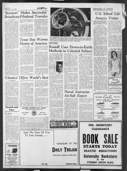Daily Trojan, Vol. 43, No. 21, October 15, 1951