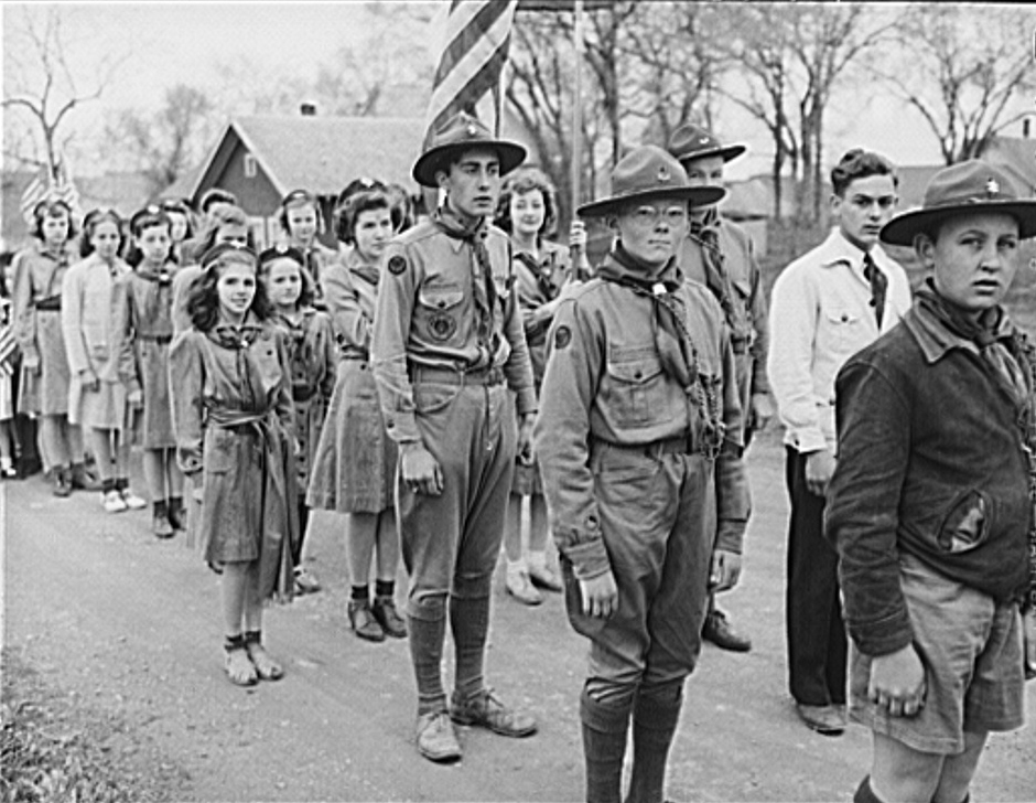. Ashland, Aroostook County, Maine. All boys and young men were in the Memorial Day parade, 1943; there were almost none in the audience. Over 300 men had been drafted from Ashland. John Collier, Photographer.  Courtesy the Library of Congress