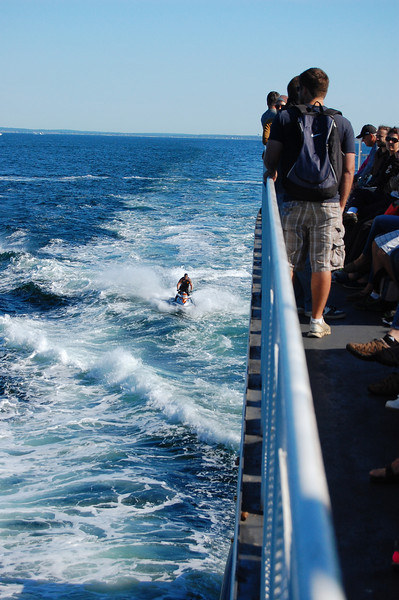 Jet skiers enjoyed the wake from the ferry