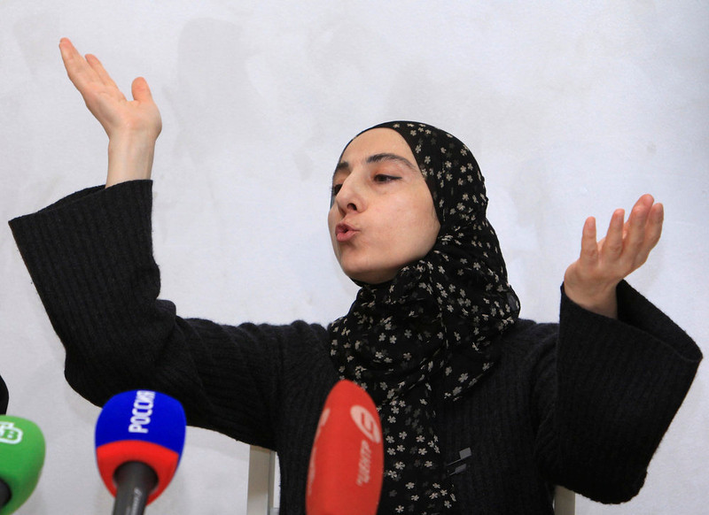 . Zubeidat Tsarnaeva, mother of Tamerlan and Dzhokhar Tsarnaev - the two men suspected of carrying out the Boston bombings, gestures during a news conference in Makhachkala April 25, 2013. Anzor Tsarnaev and former wife Zubeidat denied their sons had planted the bombs at the Boston marathon which killed three people and wounded 264, saying they had been framed. REUTERS/Stringer