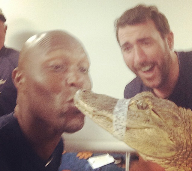 """. <p>8. TORII HUNTER <p>Fortunately, the alligator wouldn�t let the former Twin past second base. (3) <p><b><a href=\'http://deadspin.com/torii-hunter-kissing-an-alligator-1536090408\' target=\""""_blank\""""> HUH?</a></b> <p>   (Photo from Instagram)"""