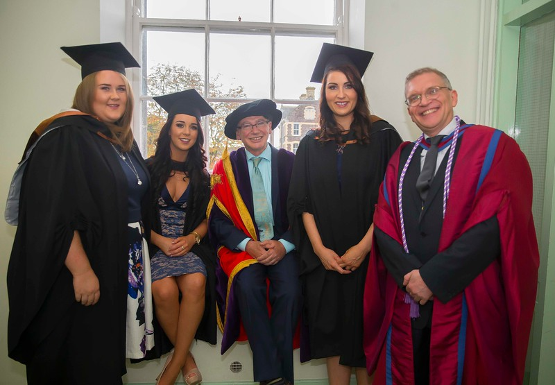 29/10/2015. Waterford Institute of Technology conferring. Pictured are Edel Rochford, Wexford, Niamh Quigley, Tipperary, WIT President Prof Willie Donnelly, Claire O'Gorman, Tipperary and Prof. John Wells. Picture: Patrick Browne