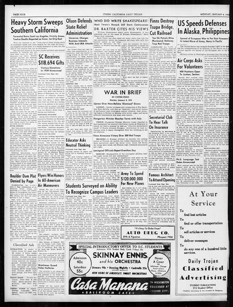 Daily Trojan, Vol. 31, No. 68, January 08, 1940