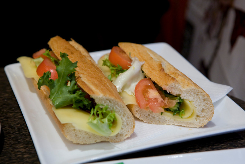 cheese and tomato sandwich in a Paris cafe