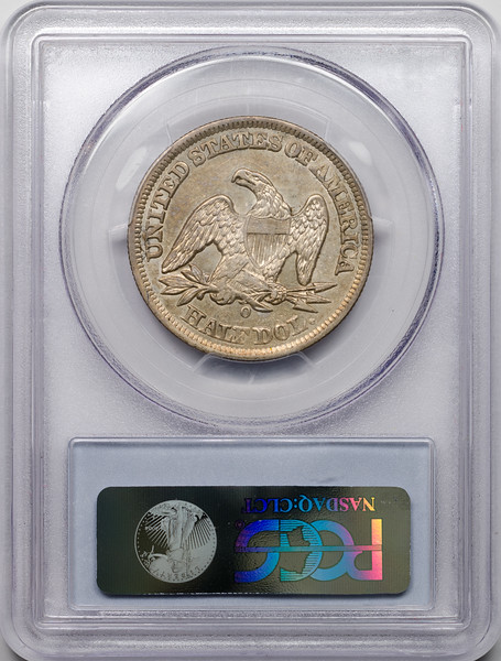 1858 O 50C HALF DOLLAR - SEATED LIBERTY, NO MOTTO PCGS AU50 24007191 CAC Rev Slab.jpg