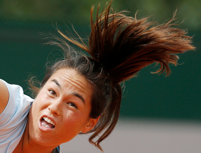 . Jamie Hampton of the U.S. is pictured during her women\'s singles match against Lucie Safarova of Czech Republic at the French Open tennis tournament at the Roland Garros stadium in Paris May 29, 2013.  REUTERS/Gonzalo Fuentes