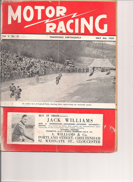 May 6 1939 Grass Track Racing Tommy Cruthcer mentioned. (Photo courtesy of Steve Hayden Bournemouth England) Steve is the grandson of Charlie Hayden, one of Dad's old racing pals).