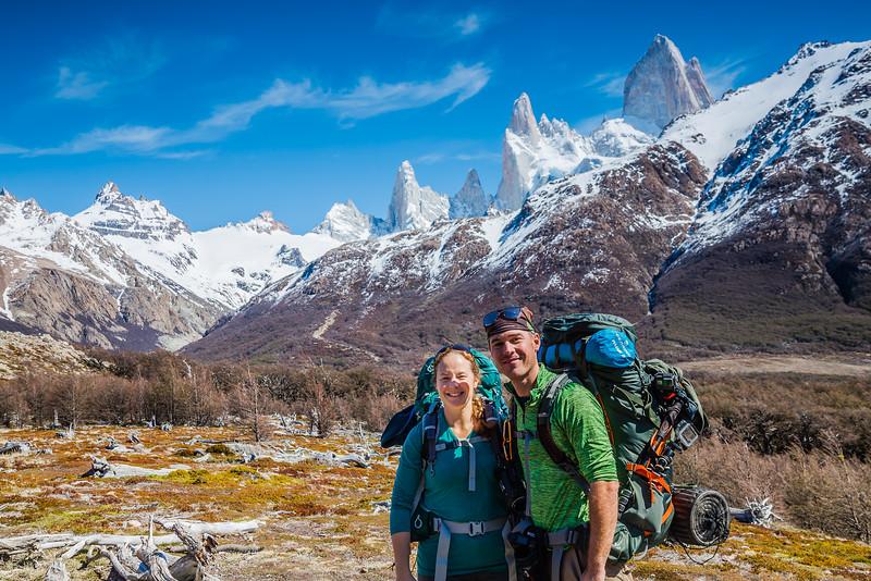 Divergent Travelers, Lina & David Stock, hiking in Patagonia