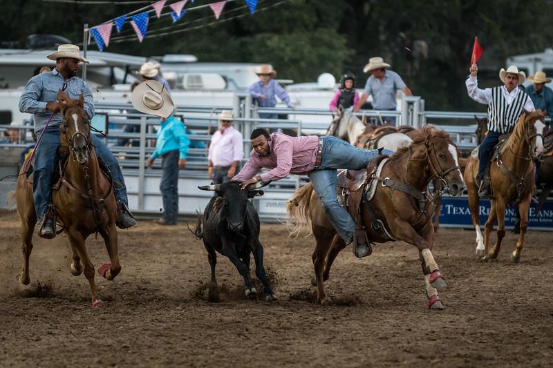 Bulldogging at Wimberley Rodeo, July 1st, 2017