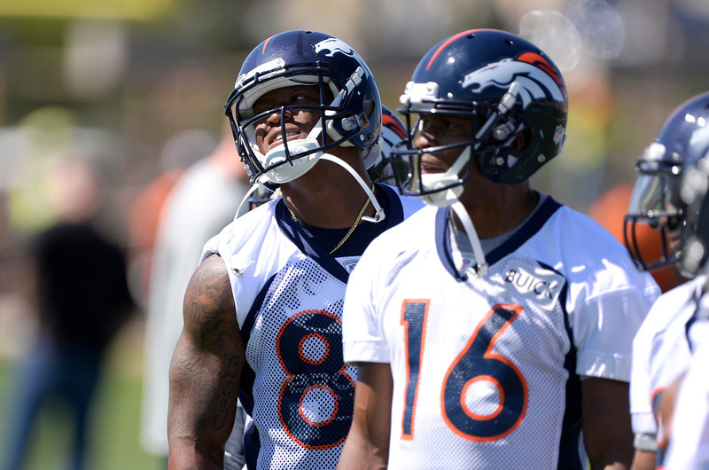 . Denver Broncos Demaryius Thomas (88) smiles during practice May 28, 2014 at Dove Valley. (Photo by John Leyba/The Denver Post)
