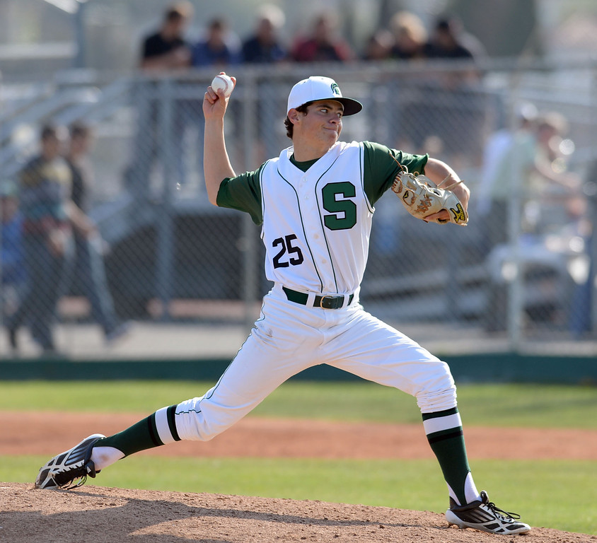 . South\'s Matt Mogollon (25) pitched six innings against Estancia in a first-round CIF SS Division IV baseball game Friday in Torrance. South won 7-2. 20130517 Photo by Steve McCrank / Staff Photographer