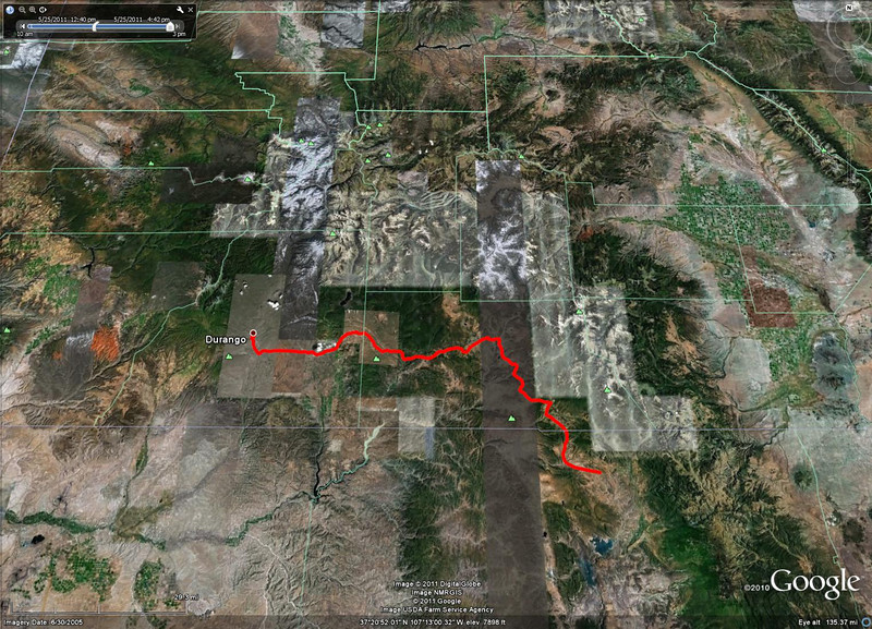 5/25 - The road out of the pass took us to Chama, NM.  From Chama, we then headed back up into Colorado through Pagosa Springs and then on to Durango.