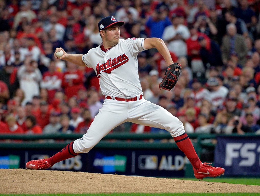 . Cleveland Indians starting pitcher Trevor Bauer delivers in the first inning against the New York Yankees in Game 1 of a baseball American League Division Series, Thursday, Oct. 5, 2017, in Cleveland. (AP Photo/Phil Long)