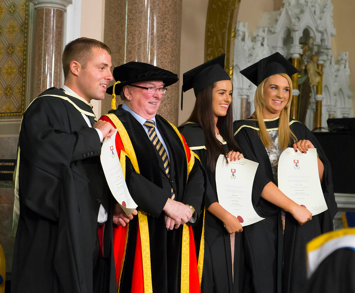 Waterford Institute Of Technology Conferring. Pictured at WIT Waterford Institute Of Technology Conferring are Noel Connors who graduated Master of Business, Dr Donnie Ormonde Chairman WIT, Siobhan Crotty and Denise Chester who graduated Master of Business. Picture: Patrick Browne