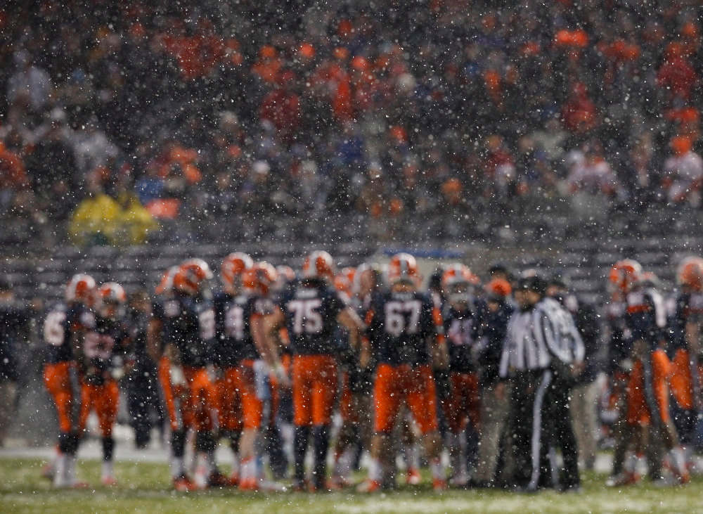 . Snow falls during a timeout in the New Era Pinstripe Bowl between the Syracuse Orange and the West Virginia Mountaineers at Yankee Stadium on December 29, 2012 in the Bronx borough of New York City.  (Photo by Jeff Zelevansky/Getty Images)
