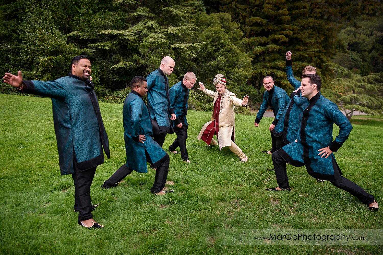 groom and groomsmen having fun at Indian wedding at Tilden Regional Park, Berkeley