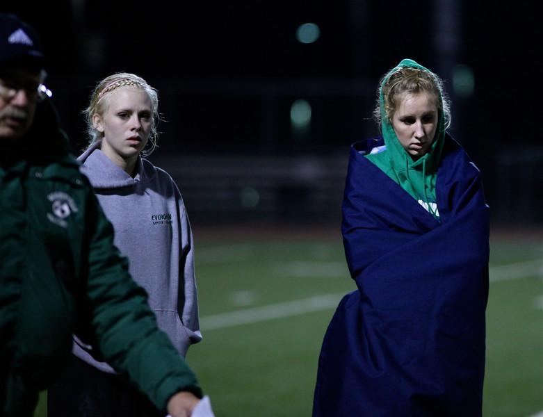 Kyla Gedney, Audrey Phillips  Woodinville High Girls Varsity Soccer verse Skyline High October 20, 2011, ©Neir