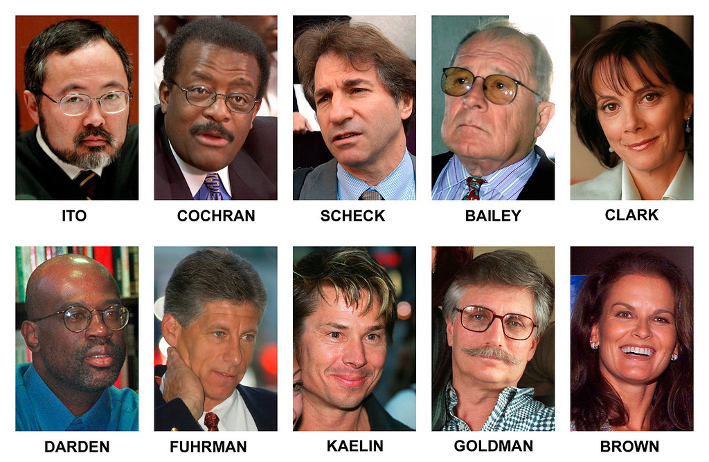 """. The televised courtroom saga of O.J. Simpson made household names of prosecutors, defense lawyers, family friends, even a houseguest. Pictured in this combination of file photos are some of those individuals: top row from left, Los Angeles Superior Court Judge Lance Ito; defense co-counsel Johnnie Cochran Jr.; defense DNA expert Barry Scheck; defense co-counsel F. Lee Bailey; lead prosecutor Marcia Clark. From left, bottom row; co-prosecutor Christopher Darden; former Los Angeles Police detective Mark Fuhrman; Simpson house guest Brian \""""Kato\"""" Kaelin; victim Ron Goldman\'s father Fred Goldman and sister of victim Nicole Brown Simpson, Denise Brown. (AP Photo/Files)"""