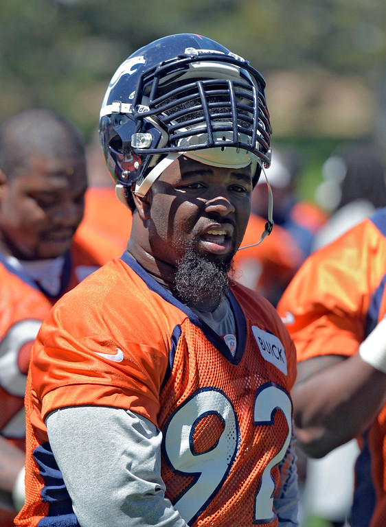 . Denver Broncos Sylvester Williams (92) walks off eh field after practice during OTA\'s May 30, 2013 at Dove Valley. (Photo By John Leyba/The Denver Post)