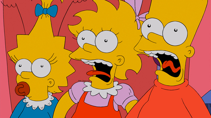 Description of . THE SIMPSONS: Maggie, Lisa and Bart meet a rhyming cat in the the all-new