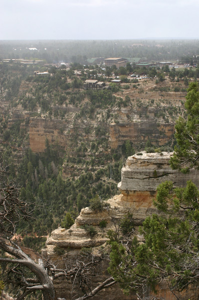 Then the sun came out, and we could see all the way back to Grand Canyon Village further back along the rim.