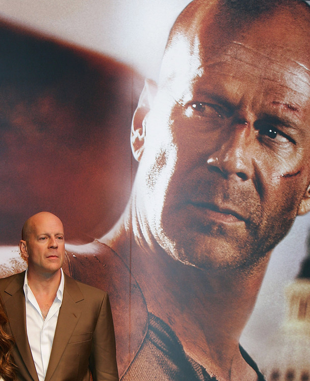 """. TOKYO - JUNE 12:  Actor Bruce Wills attends a press conference promoting \""""Die Hard 4\"""" at Shinjuku Tower Hall June 12, 2007 in Tokyo, Japan. The film will open June 30 in Japan.  (Photo by Junko Kimura/Getty Images)"""