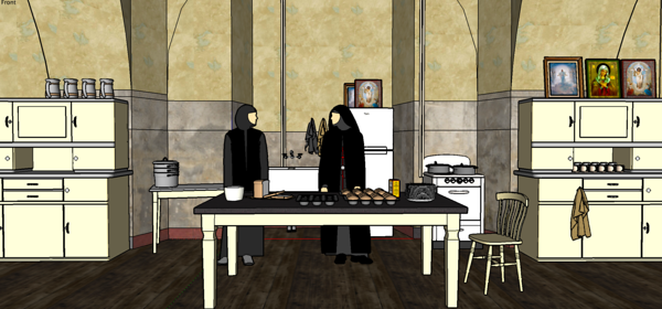 Nun's Kitchen - visual and props