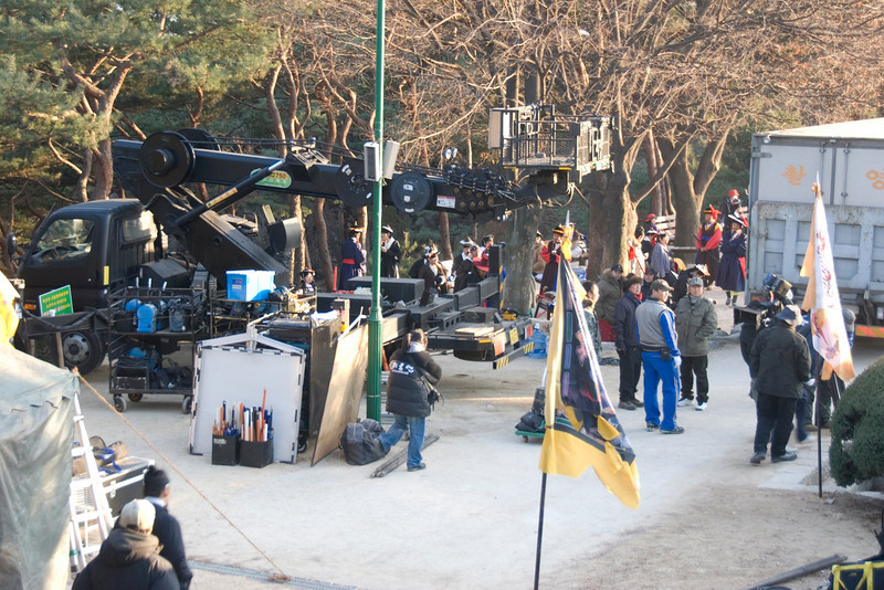 Large filming equipment at movie set in Hwaseong Fortress - South Korea