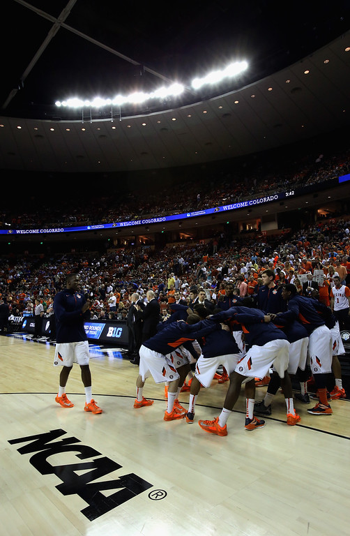 . AUSTIN, TX - MARCH 22:  The Illinois Fighting Illini prepare to take on the Colorado Buffaloes during the second round of the 2013 NCAA Men\'s Basketball Tournament at The Frank Erwin Center on March 22, 2013 in Austin, Texas.  (Photo by Ronald Martinez/Getty Images)