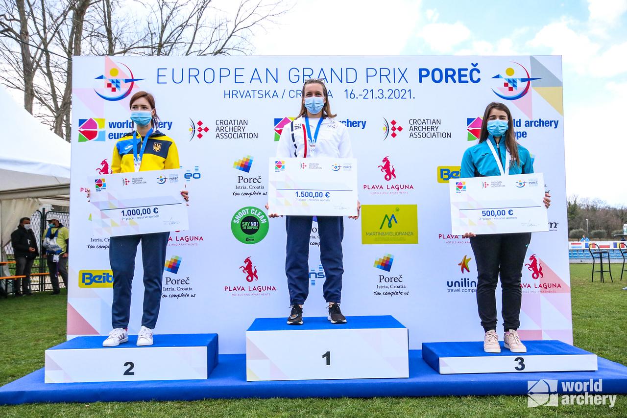 The recurve women's podium at the European Grand Prix in Porec in 2021.