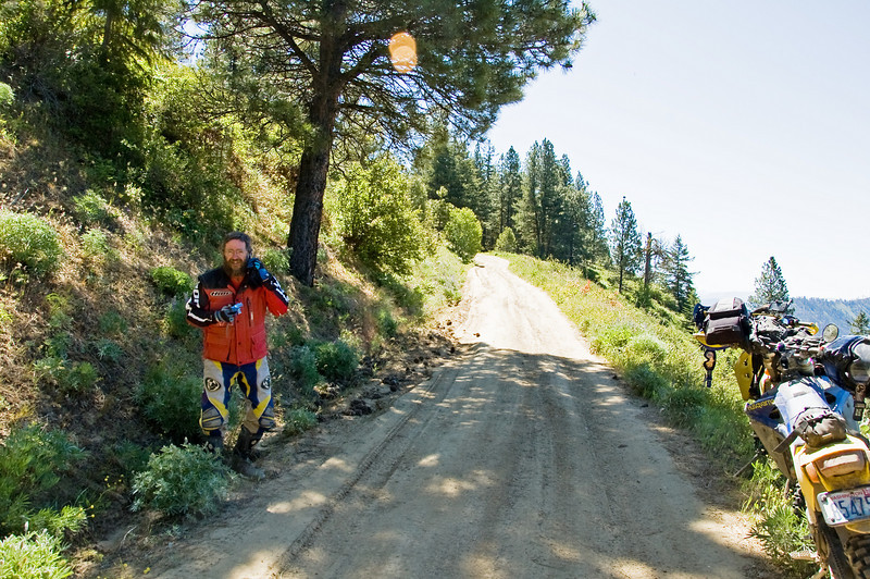 """Tim """"Dual Tasking"""" on a Dual-sport ride.  talking on the phone and taking pictures simultaneously."""