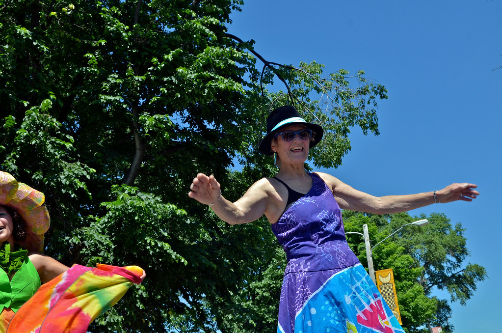 . Jeff Forman/JForman@News-Herald.com Robin Van Lear celebrates the conclusion of the Cleveland Museum of Art 25th annual Parade the Circle June 14 in University Circle.
