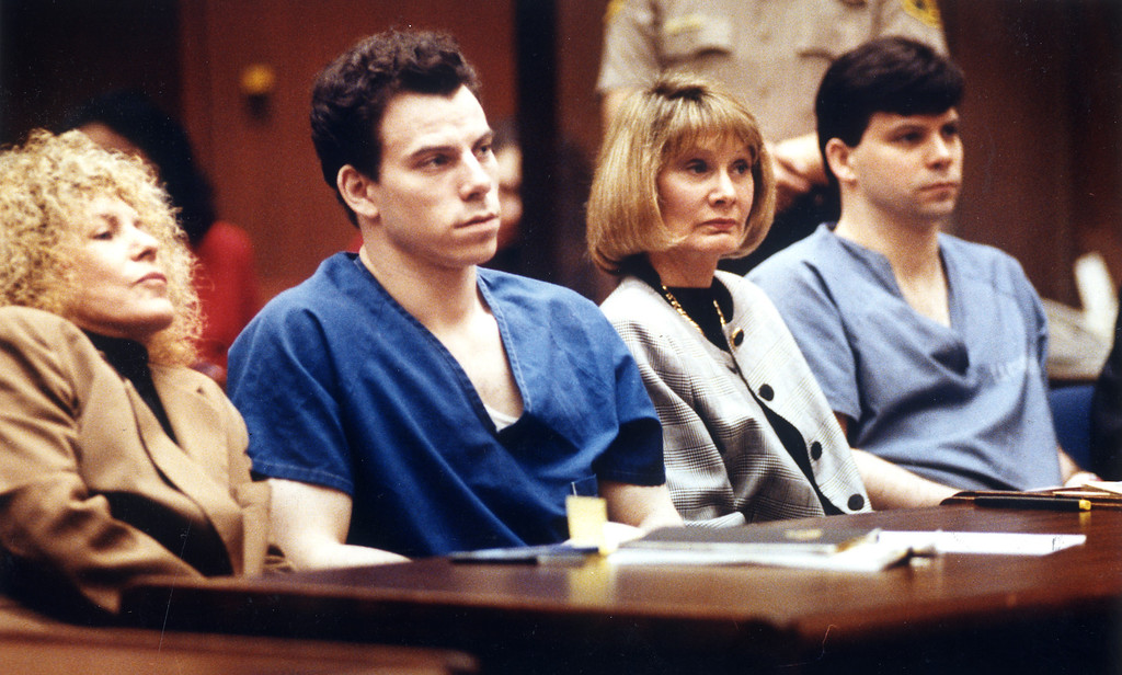 . Leslie Abramson, Erik Menendez, Jill Lansing and Lyle Menendez, from left, sit in a courtroom at the Los Angeles criminal courts Tuesday, March 22, 1994.   (L.A. Daily News file photo)