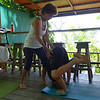 Graeme practices yoga at the lodge.