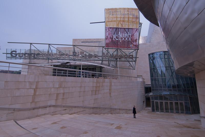 Sign outside Guggenheim Museum in Bilbao, Spain