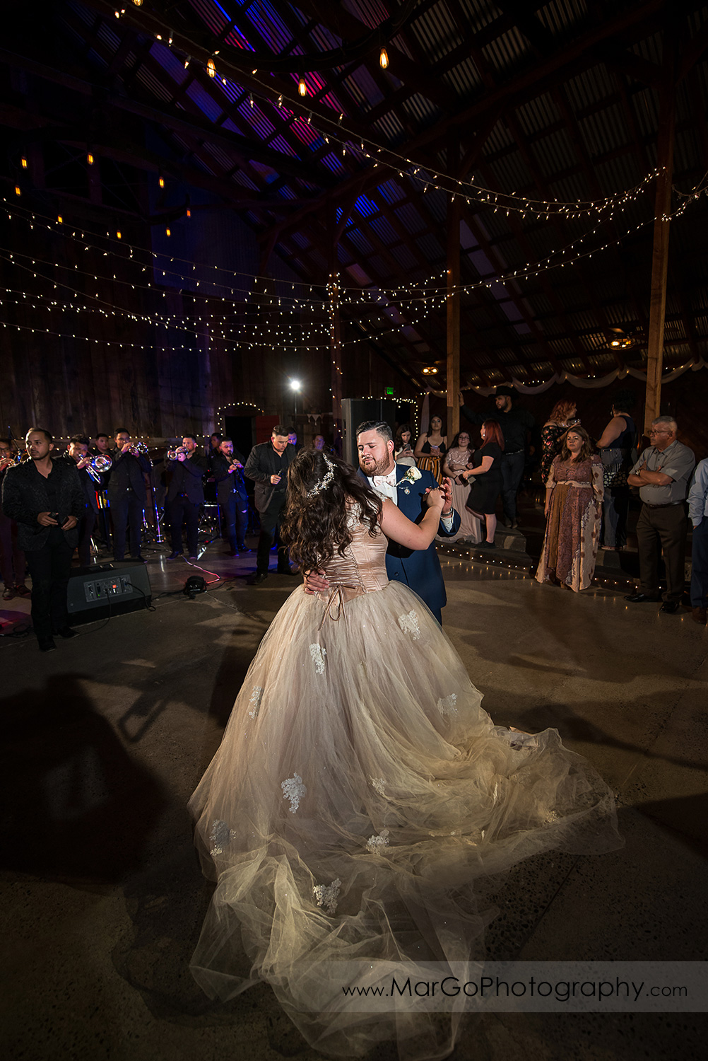 first dance of bride and groom during wedding reception at Taber Ranch Vineyards
