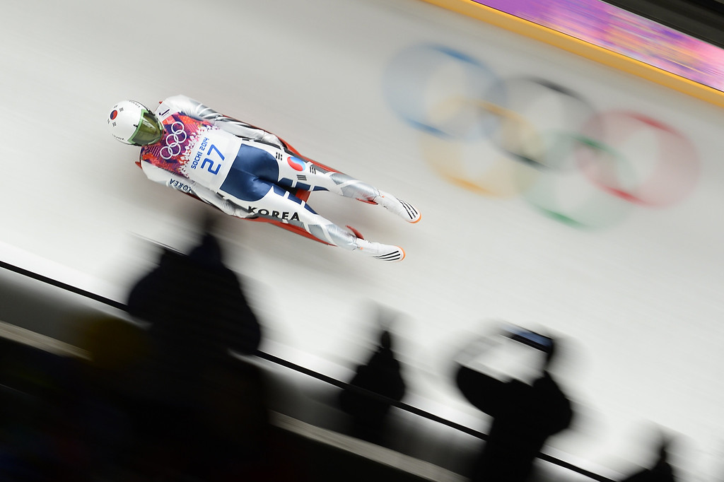 . South Korea\'s Sung Eunryung competes during the Women\'s Luge Singles run one at the Sliding Center Sanki during the Sochi Winter Olympics on February 10, 2014.   AFP PHOTO / LIONEL BONAVENTURE/AFP/Getty Images