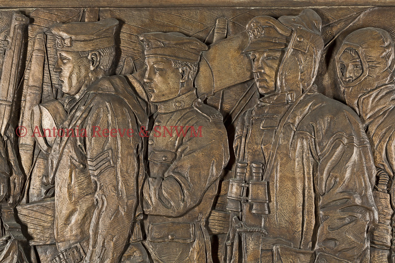 Frieze Detail of Service Personnel  Left to Right, Able Seaman Seam Gunner R.N., Private Royal Marines, Warrant Officer R.N., Stoker Fire Party R.N.