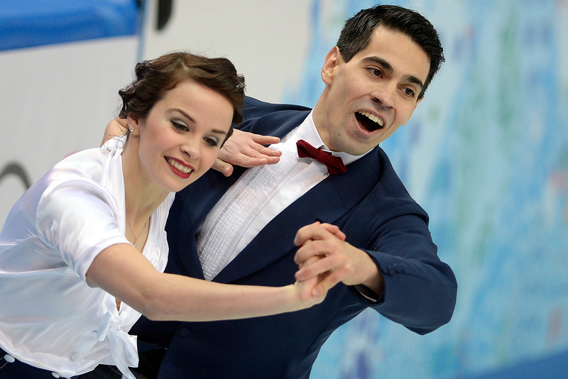 . Italy\'s Luca Lanotte and Anna Cappellini perform as they score a 64.92 in ice dance short during team figure skating. Sochi 2014 Winter Olympics on Saturday, February 8, 2014. (Photo by AAron Ontiveroz/The Denver Post)