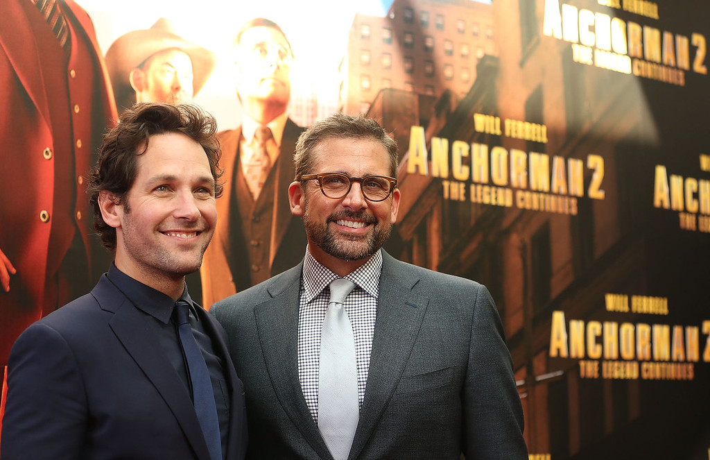 ". Paul Rudd and Steve Carell arrive at the ""Anchorman 2: The Legend Continues\"" Australian premiere on November 24, 2013 in Sydney, Australia.  (Photo by Mark Metcalfe/Getty Images for Paramount Pictures International)"
